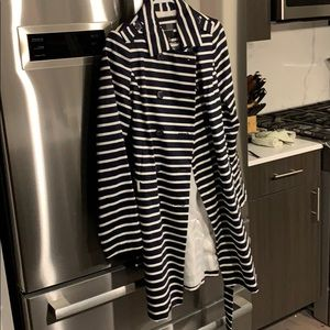 The Limited. Navy Striped Trench Coat